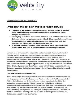 Aachener Zeitung - Velocity meldet sich mit voller Kraft zurück