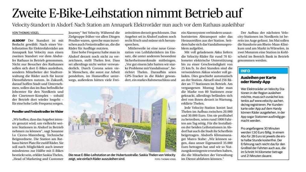 Aachener_Zeitung_Zweite_E-Bike-Leihstation_nimmt_Betrieb_auf